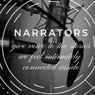 Narrators banner made by Jorie in Canva. Photo Credit: Unsplash Photographer Neil Godding.