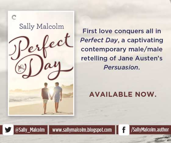 Perfect Day promot badge for Perfect Day; provided by the author Sally Malcolm and is used with permission.