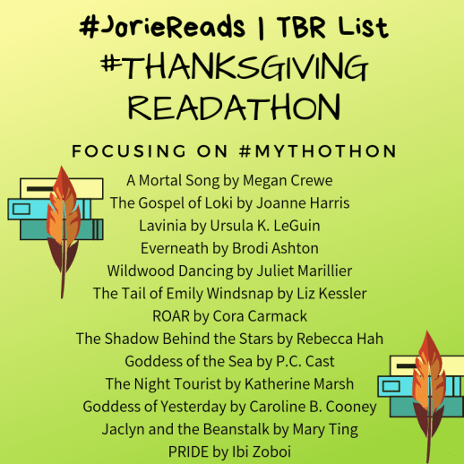 #ThanksgivingReadathon TBR List created by Jorie in Canva