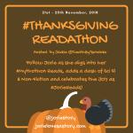 #ThanksgivingReadathon badge created by Jorie in Canva