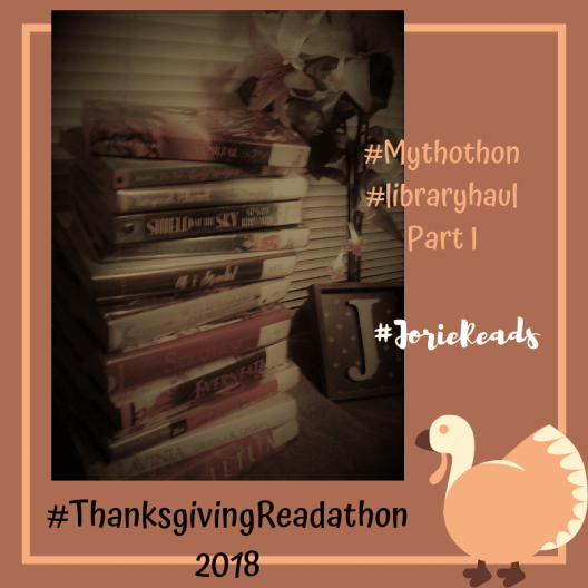 #ThanksgivingReadathon Library Haul Stack 1 badge created by Jorie in Canva. Photo Credit jorielovesastory.com