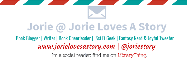Jorie of Jorie Loves A Story badge created by Jorie in Canva.