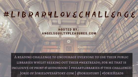 #LibraryLoveChallenge banner created by Jorie in Canva.