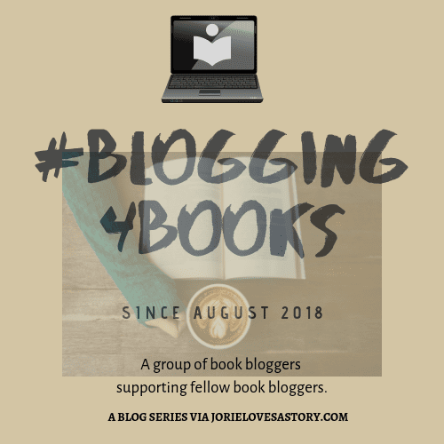 #Blogging4Books logo badge created by Jorie in Canva.