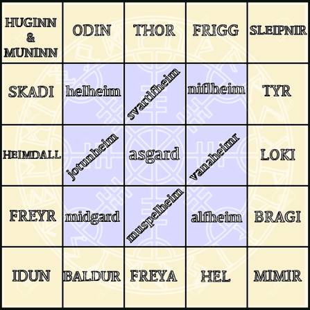 Mythothon reading challenge bingo card created by Louise @foxesfairytale and is used with permission.