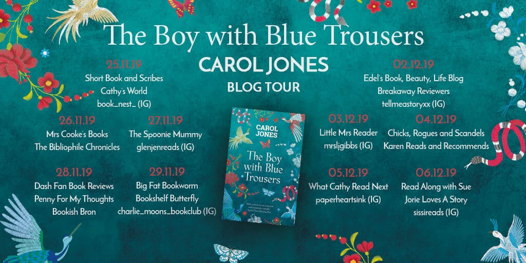 The Boy with Blue Trousers blog tour via Head of Zeus (banner).