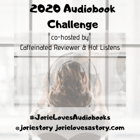 2020 Audiobook Challenge badge created by Jorie in Canva.
