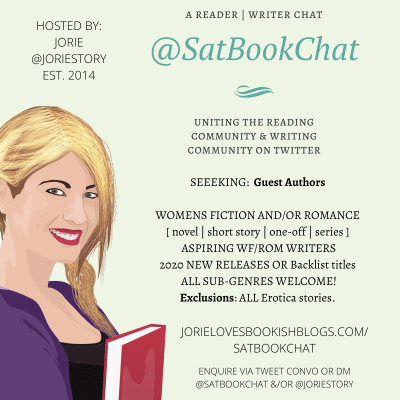 #SatBookChat Guest Authors badge for 2020 created by Jorie in Canva.