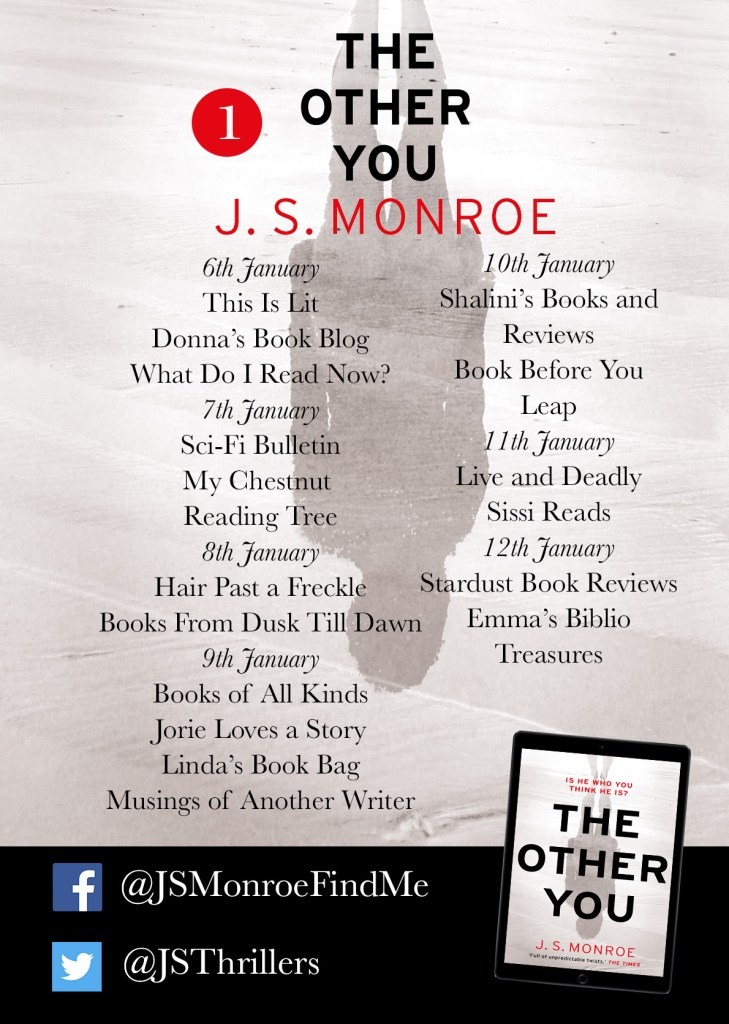 JS Monroe The Other You blog tour poster part one provided by Head of Zeus and is used with permission.