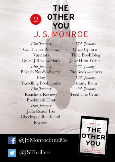 JS Monroe The Other You blog tour poster part two provided by Head of Zeus and is used with permission.