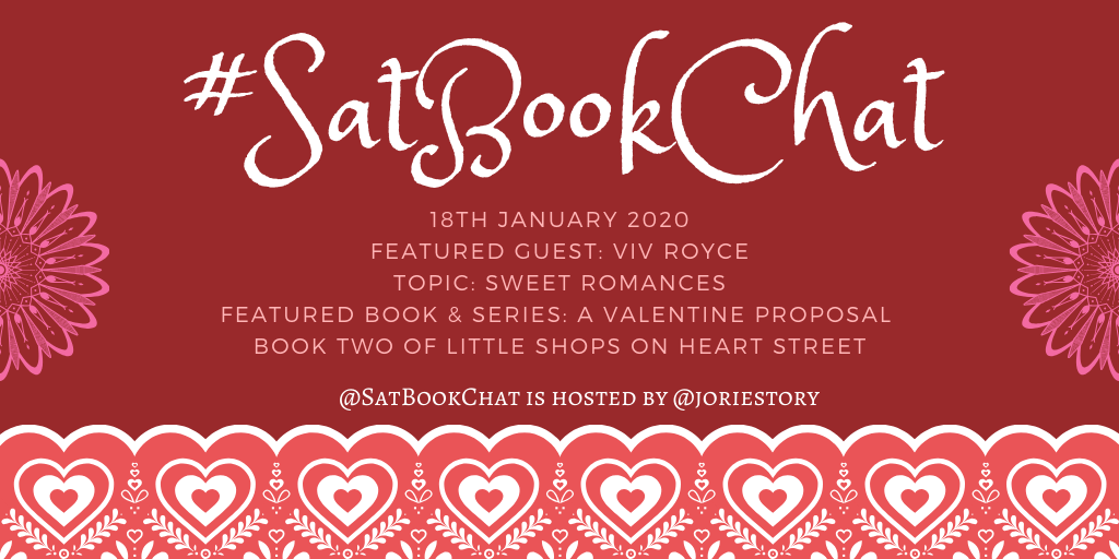 #SatBookChat 18 January 2020 banner created by Jorie in Canva.