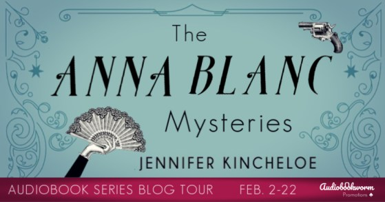 The Anna Blanc Mysteries audiobook tour banner provided by Audiobookworm Promotions.