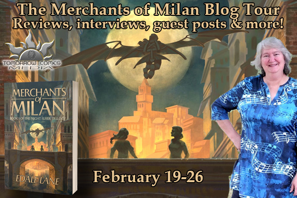 Merchants of Milan blog tour banner provided by Tomorrow Comes Media and is used with permission.