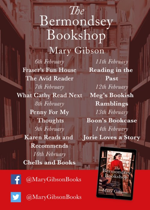 The Bermondsey Bookshop blog tour banner provided by Head of Zeus.
