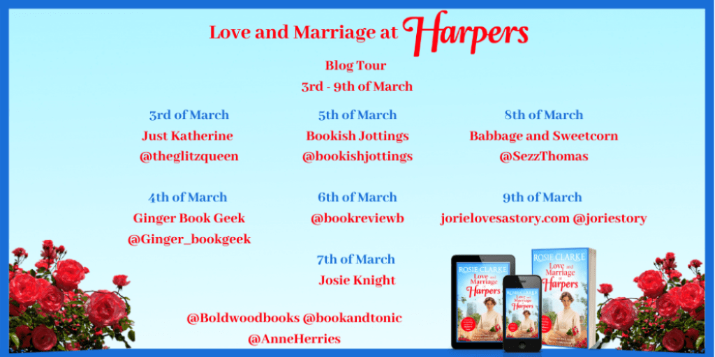 Love and Marriage at Harpers blog tour banner provided by Boldwood Books and is used with permission.