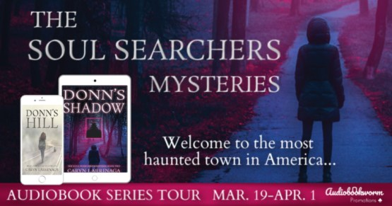 The Soul Searchers Mysteries audiobook blog tour banner provided by Audiobookworm Promotions and is used with permission.
