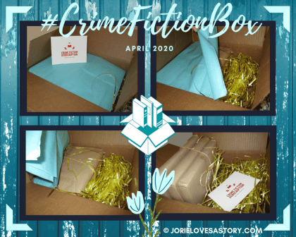 #CrimeFictionBox April Reveal collage created by Jorie in Canva.