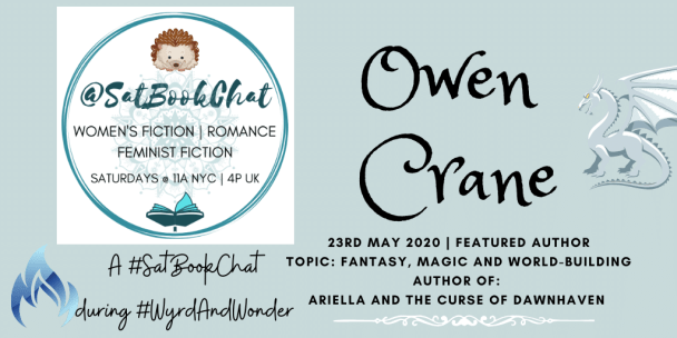 @SatBookChat banner for Owen Crane made by Jorie in Canva.