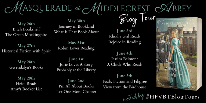Masquerade at Middlecrest Abbey blog tour poster provided by HFVTBs and is used with permssion.