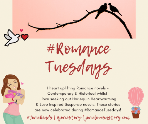 #RomanceTuesdays badge created by Jorie in Canva.