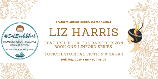 #SatBookChat featuring Liz Harris banner created by Jorie in Canva.