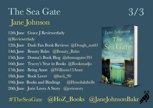 The Sea Gate blog tour poster provided by Head of Zeus and is used with permission.