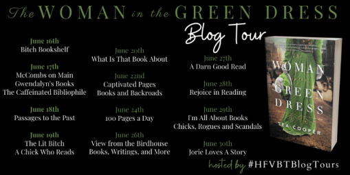 The Woman in the Green Dress blog tour banner provided by HFVBTs and is used with permission.