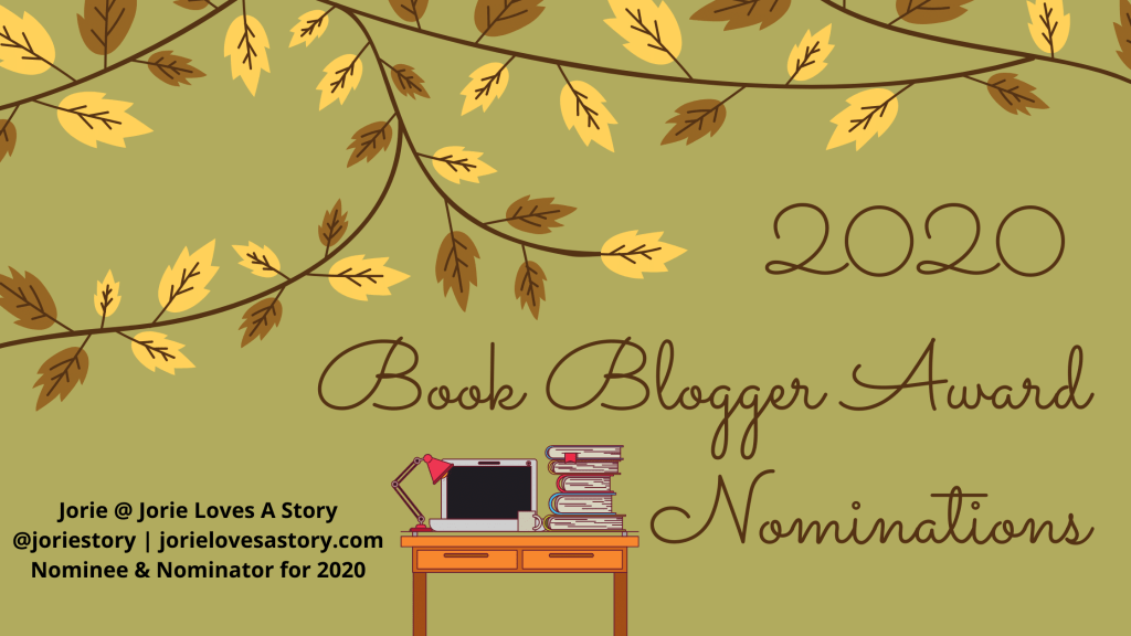 2020 Book Blogger Awards Nominations banner created by Jorie in Canva.