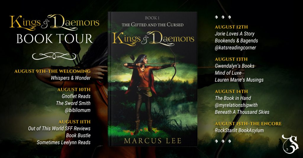 Kings and Daemons blog tour route banner provided by Storytellers on Tour and is used with permission.