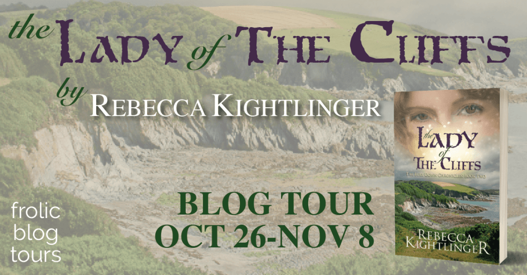 The Lady of the Cliffs blog tour banner provided by Frolic Book Tours and is used with permission.