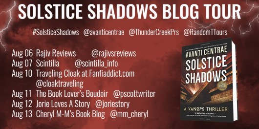 The Solstice Shadows blog tour banner provided by Random Things Tours and is used with permission.