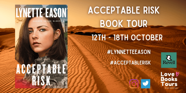 Acceptable Risk blog tour banner provided by Love Book Tours and is used with permission.