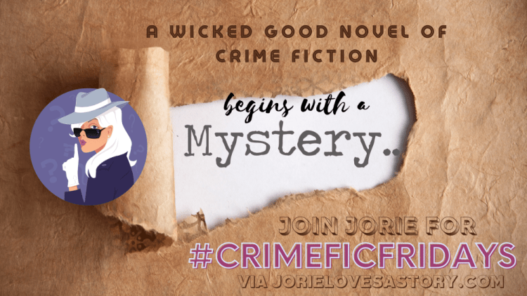 #CrimeFicFridays banner created by Jorie in Canva.
