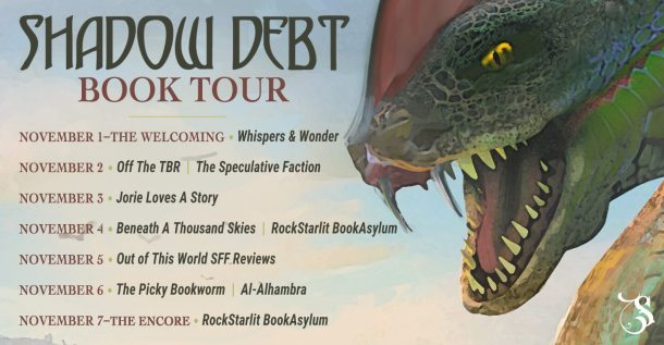 Shadow Debt blog tour route banner provided by Storytellers on Tour and is used with permission.