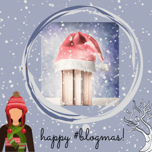 #blogmas 2020 badge created by Jorie in Canva.
