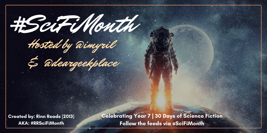 #SciFiMonth 2020 banner created by Jorie in Canva.