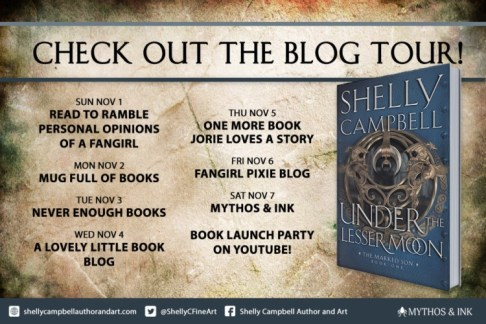 Under the Lesser Moon blog tour banner provided by Mythos and Ink Publishing and is used with permission.