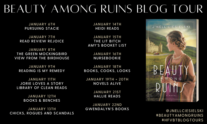 Beauty Among Ruins blog tour banner provided by HFVBTs and is used with permission.