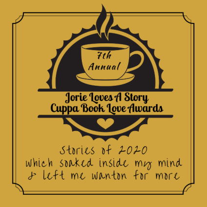 Jorie Loves A Story Cuppa Book Love Awards Badge created by Jorie in Canva. Coffee and Tea Clip Art Set purchased on Etsy; made by rachelwhitetoo.