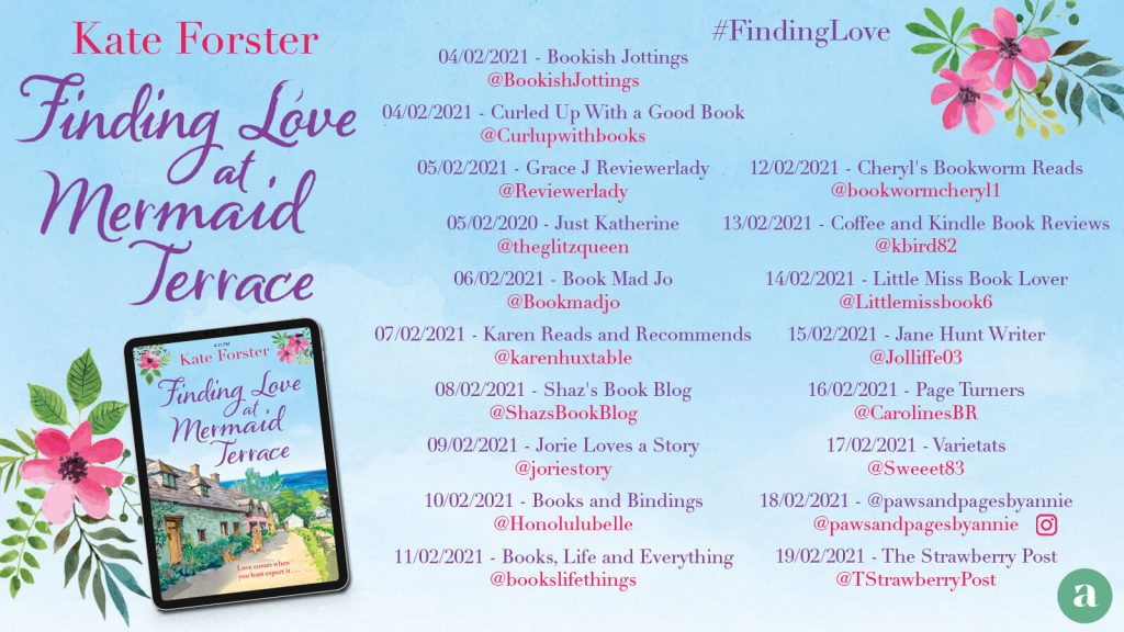Finding Love at Mermaid Terrace blog tour banner provided by Head of Zeus and is used with permission.