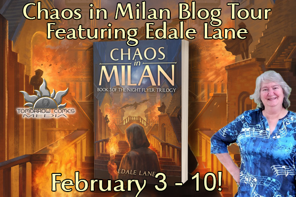 Chaos in Milan blog tour banner provided by Tomorrow Comes Media and is used with permission.