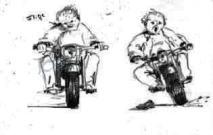 Motorradfahrers Leidenschaft die Leiden schafft (Bleistift)