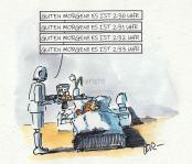 Peter hatte sich dann wohl bei der Programmierung seines Robots eindeutig vertan, als er ihn per Sprachnachricht darum bat, ihn nicht schon halb drei zu wecken...