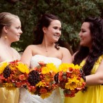 Rustic orange and yellow fall bouquets with lotus pods and sunflowers // Design: Jessica Ormond Events // Photographer: Hudson Photography. Lubbock Texas boutique wedding florist.