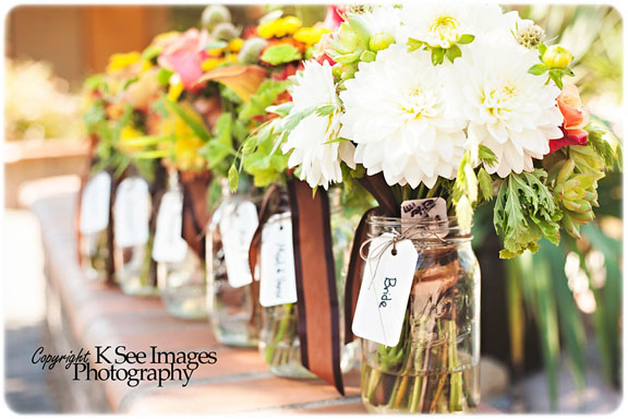 Fall bouquets featuring dahlias and colorful blooms.   Jessica Ormond Events   K See Images Photography