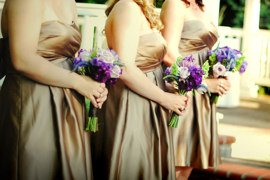 Garden wedding; bridesmaids in gold with purple bouquets | Jessica Ormond Events | Shot by Kelsey Photography