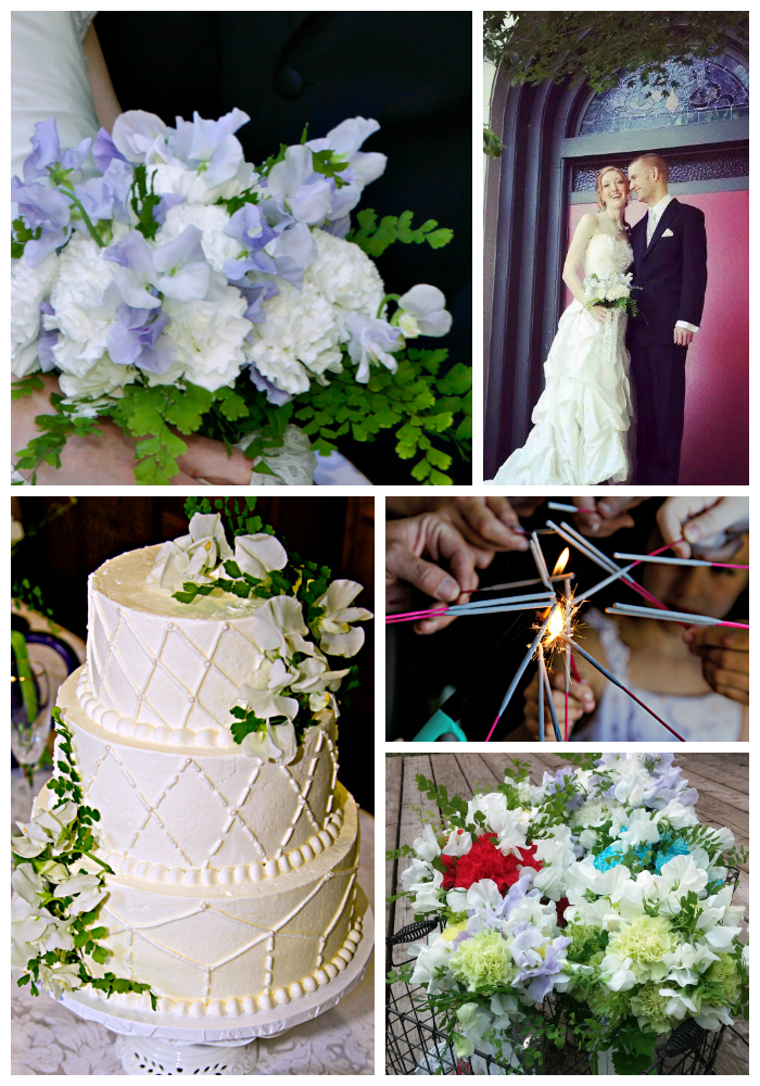 Colorful wedding of sweet peas and carnations. Lubbock Texas boutique wedding florist.