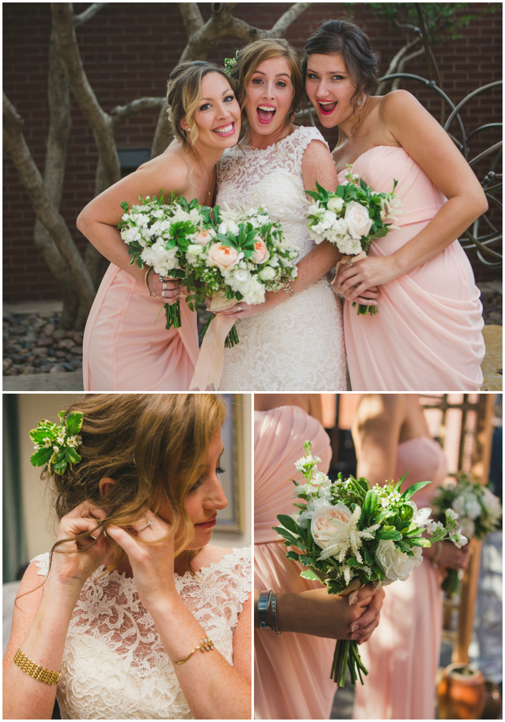 Peach and white bridesmaid bouquets. Jessica Ormond Events - Abilene and Lubbock Texas boutique wedding florist and planner. Mia Coelho Photography.