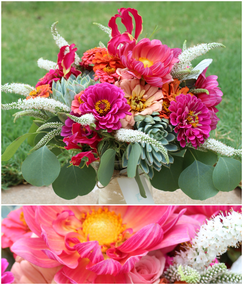 Vibrant bouquet of pink dahlias, succulents, and coral zinnias designed by Jessica Ormond Events.