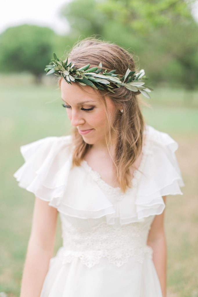 Boho bride in olive leaf crown. Flowers and styling Jessica Ormond Events. Photography Emily Koontz.